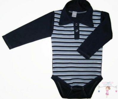 baba body, galléros sötétkék csíkos, kisbabáknak, termékkép.