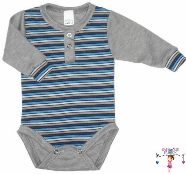 baba body, szürke színű, hosszú ujjú, kisbabáknak, termékkép.