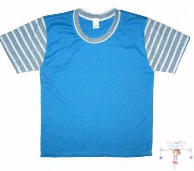 gyerek póló, rövid ujjú, türkizkék színű, kisbabáknak, termékkép.