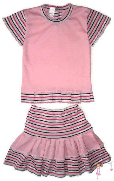 kislány ruha szett, kislány felső és kislány szoknya, rózsaszín színű, termékkép.