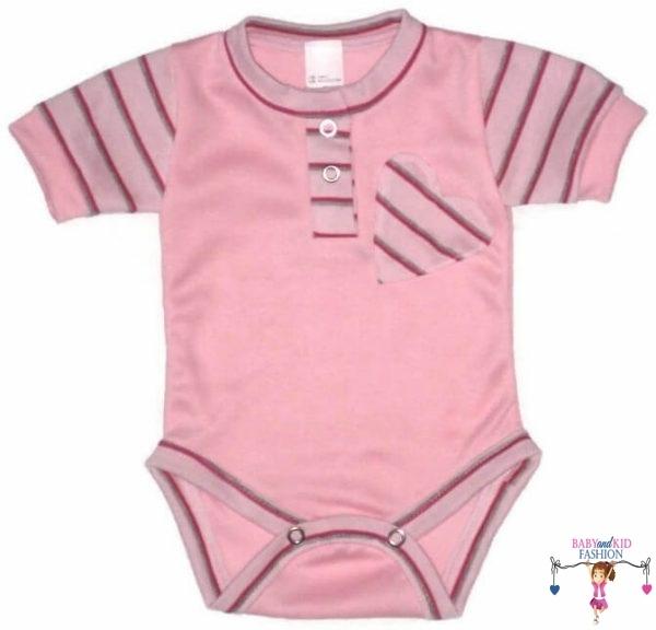 baba body, rövid ujjú, rózsaszín színű, kislányoknak, kép.