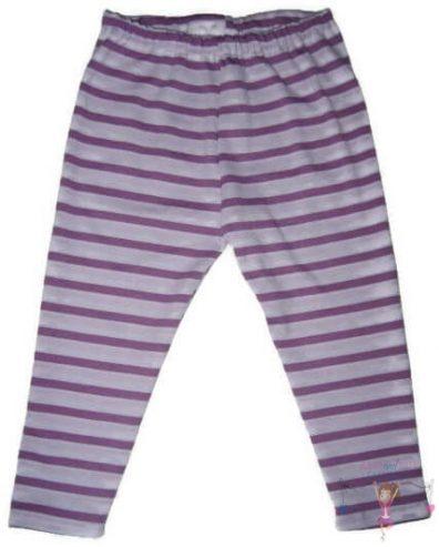 pamut leggings, lila csíkos, hosszú szárú fazon, kisbabáknak, termékkép.