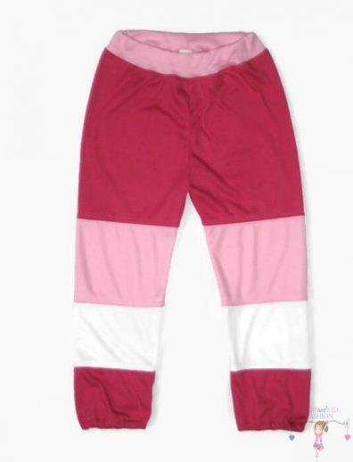 baba nadrág, több fajta színből összeállított hosszú szárú nadrág, kislányoknak, kép.