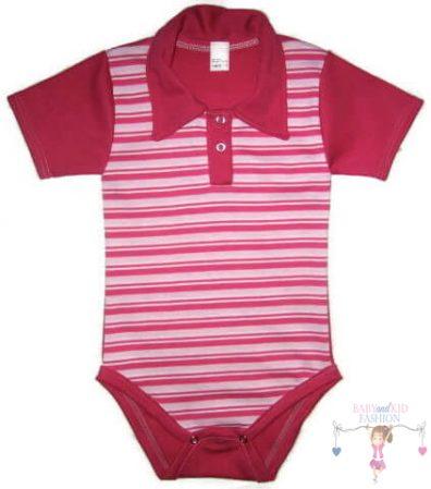 baba body, galléros pink csíkos, kisbabáknak, termékkép.