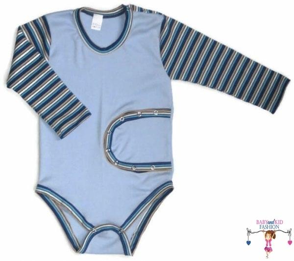 gyerek body, peg body, világoskék, hosszú ujjú, kisbabáknak, termékkép.