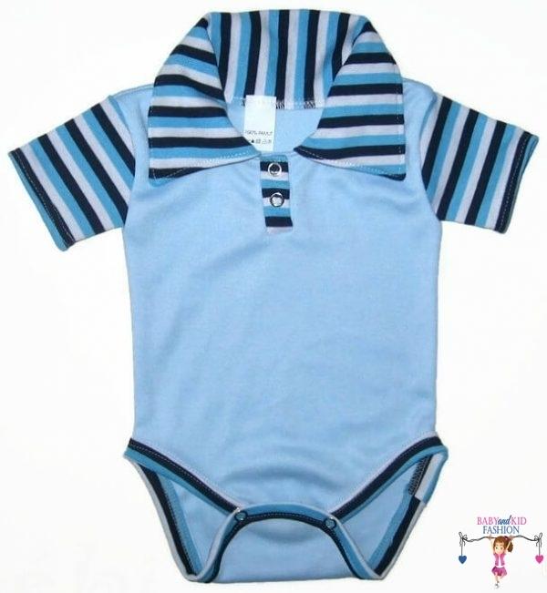 baba body, világoskék színű, galléros, kisbabáknak, termékkép.