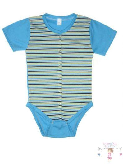 baba body, rövid ujjú, kék csíkos, elöl végig patentos, kisbabáknak, termékkép.