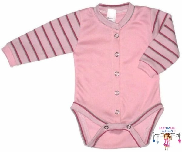 baba body, hosszú ujjú, rózsaszín színű, elöl végig patentos, kisbabáknak, termékkép.
