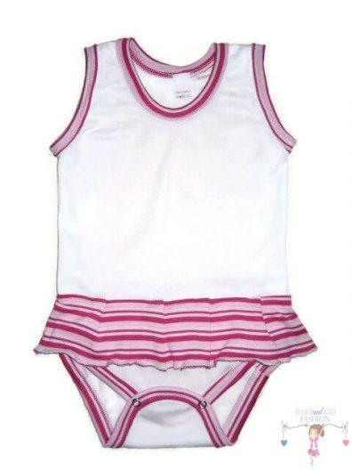 gyerek body, fehér színű, ujjatlan, kisbabáknak, termékkép.