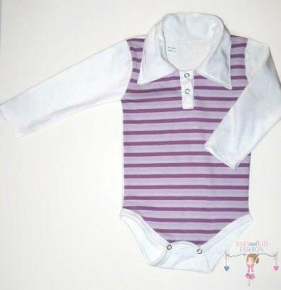 baba body, galléros, hosszú ujjú, lila csíkos, kisbabáknak, termékkép.