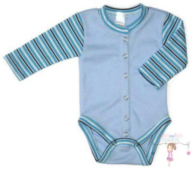 baba body, hosszú ujjú, világoskék színű, elöl végig patentos, kisbabáknak, termékkép.