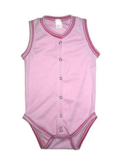 elöl patentos ujjatlan body, rózsaszín, elöl végig patentos ujjatlan lányos body, kép.