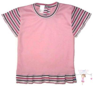 Gyerek póló, rövid ujjú, rózsaszín színű, kislányoknak, termékkép.