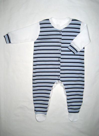 hosszú ujjú rugdalózó, kék csíkos, kisbabáknak, termékkép.