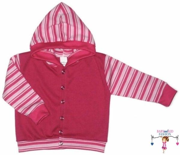 kardigán, kapucnis kocsikabát, pink színű, kisbabáknak, termékkép.