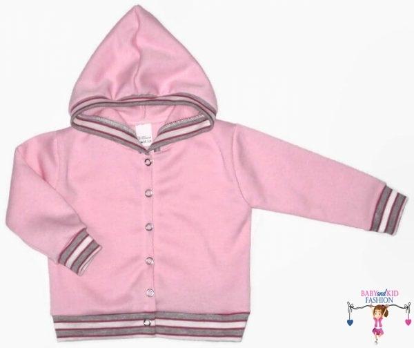 kardigán, kapucnis kocsikabát, rózsaszín színű, kisbabáknak, termékkép.