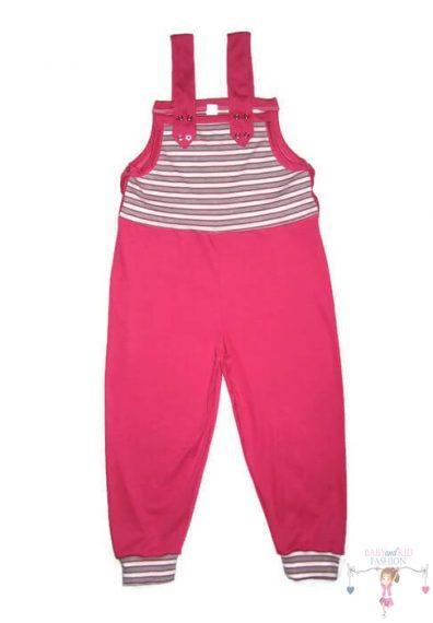 kertésznadrág, hosszú szárú pink színű kantáros nadrág, kisbabáknak, kép.
