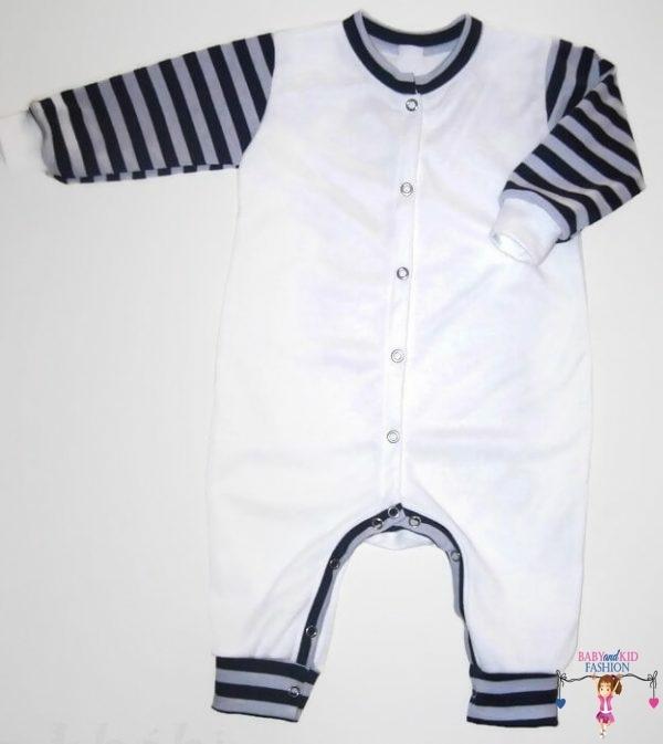 kezeslábas pizsama, fehér színű, hosszú ujjú, kisbabáknak, termékkép.