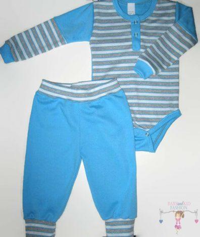 gyerek body és nadrág, türkizkék színű, hosszú ujjú body és hosszú nadrág, kisfiúknak, termékkép.
