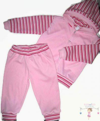 baba nadrág és kocsikabát, rózsaszín színű, két darabos szett, termékkép.