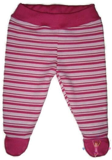 lábfejes baba nadrág, pink csíkos, kisbabáknak, termékkép.