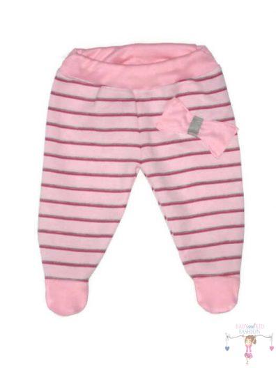 lábfejes babanadrág, rózsaszín csíkos színű, kisbabáknak, termékkép.