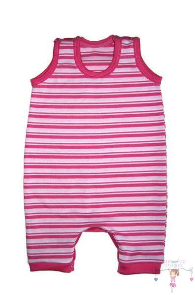 napozó, ujjatlan, rövid szárú fazon, pink csíkos, lány, kép.