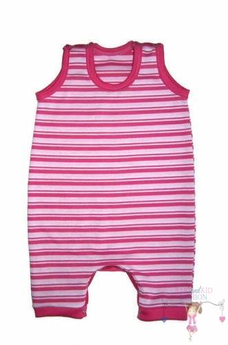 baba napozó, ujjatlan, rövid szárú, pink csíkos, kisbabáknak, termékkép.