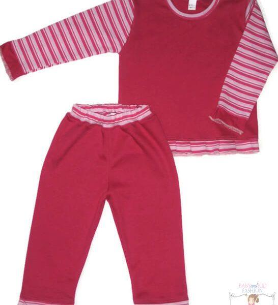 pizsama, két részes pink színű, pink csíkos variációjával készült pizsama, kislányoknak, termékkép.