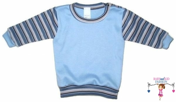 baba pulcsi, világoskék színű, vállnál patentos, kisbabáknak, termékkép.