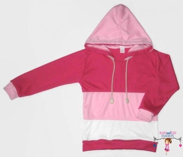 lányka pulcsi, pink, rózsaszín, fehér anyaggal variálva, kapucnis pulcsi kislányoknak, termékkép.