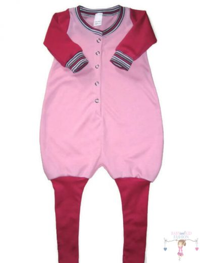 tipegő hálózsák, lányos, rózsaszín, hosszú ujjú, talpas, kisbabáknak, termékkép.