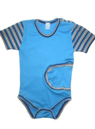 Baba body, peg body pamut, türkizkék, kék csíkos rövid ujjal, peg fiús body, termékkép.