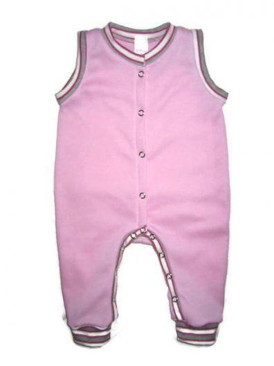 Baba kezeslábas pizsama lány, babarózsaszín színű, rózsaszín-szürke csíkos passzékkal, elöl végig patentos, ujjatlan fazon, termékkép.