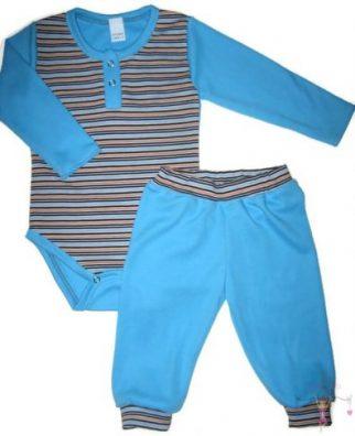 baba body és nadrág, két részes türkizkék csíkos szett kisbabáknak, termékkép.