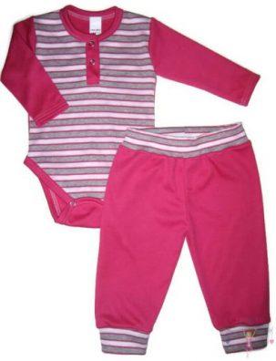 gyerek body és nadrág, két részes pink csíkos variációjával készült szett kisgyerekeknek, termékkép.