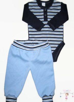 gyerek body és nadrág, két részes kék csíkos variációval készült szett kisgyerekeknek, termékkép.