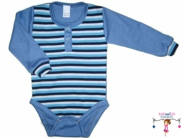 baba body, hosszú ujjú kék csíkos, kisbabáknak, termékkép.