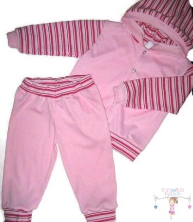 Gyerek nadrág és kocsikabát, két részes rózsaszín szett, kisgyerekeknek, termékkép.
