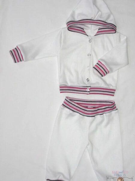 baba nadrág és kocsikabát, két részes fehér szett, kisbabáknak, termékkép.