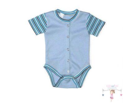 baba body, rövid ujjú, elöl végig patentos, világoskék színű, kisbabáknak, termékkép.