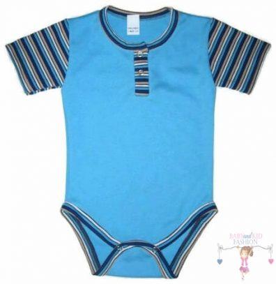 baba body, rövid ujjú, türkizkék színű, kisbabáknak, termékkép.