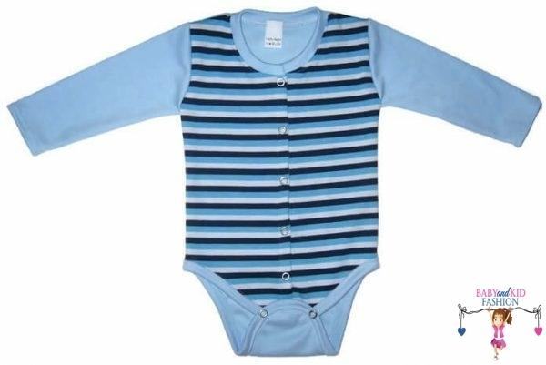 baba body, hosszú ujjú, kék csíkos, elöl végig patentos, kisbabáknak, termékkép.