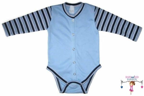 baba body, hosszú ujjú, kék színű, elöl végig patentos, kisbabáknak, termékkép.