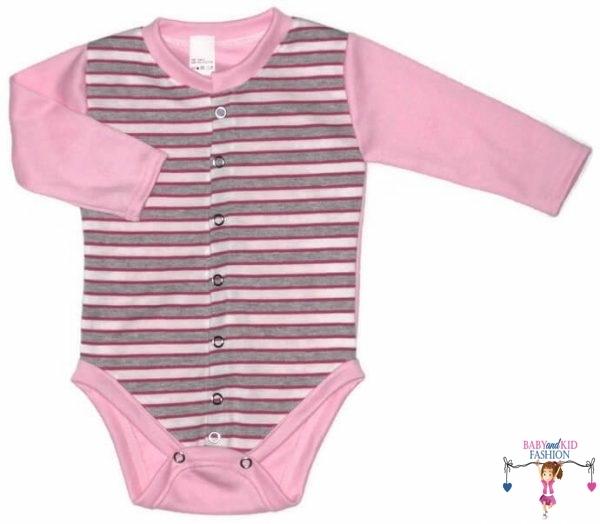 baba body, hosszú ujjú, elöl végig patentos, szürke csíkos, kisbabáknak, termékkép.