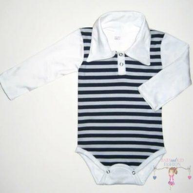 baba body, galléros, hosszú ujjú, sötétkék csíkos, kisbabáknak, termékkép.