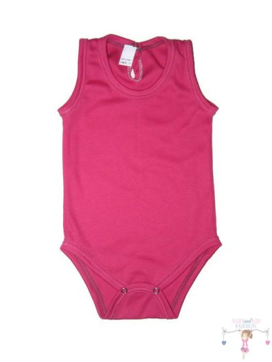 gyerek body, ujjatlan pink színű, kisbabáknak, termékkép.