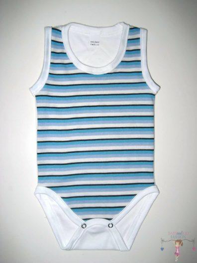 baba body, ujjatlan, kék csíkos, kisbabáknak, termékkép.