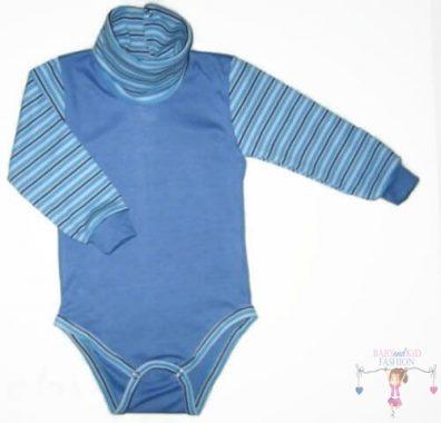 baba body, garbós, hosszú ujjú, tengerkék színű, kisbabáknak, termékkép.