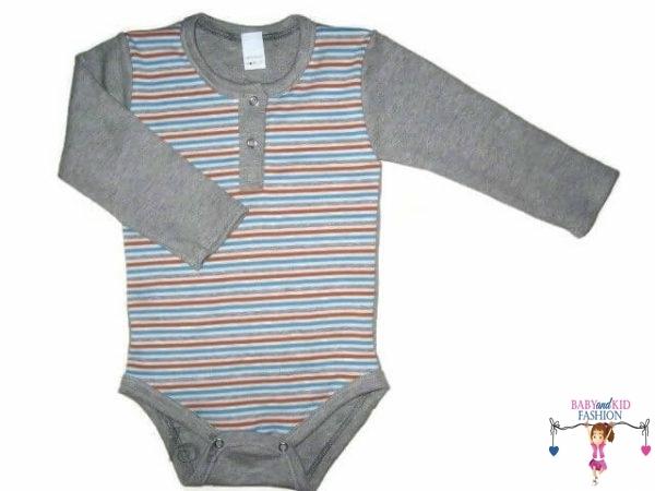 baba body, hosszú ujjú, szürke csíkos, kisbabáknak, termékkép.